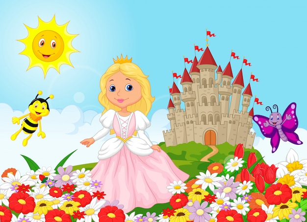 Principessa carina nel giardino floreale