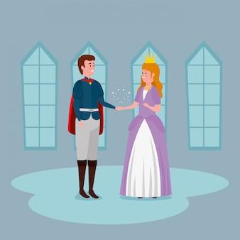 Principessa con il principe nel castello al coperto