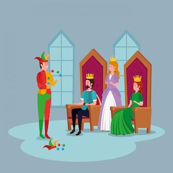 Principessa con re e burlone nel castello