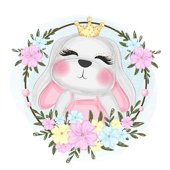 Principessa coniglio carino con ghirlanda di fiori