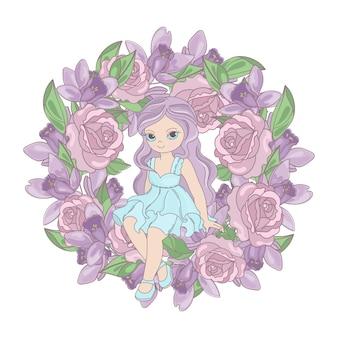 Principessa di rose ghirlanda di fiori floreali
