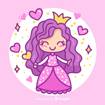 Principessa disegnata a mano con vestito viola