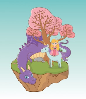 Principessa drago e cavallo di design da favola