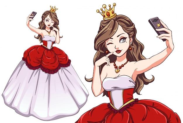 Principessa graziosa del fumetto che prende selfie. ragazza che indossa abito rosso reale e corona d'oro.