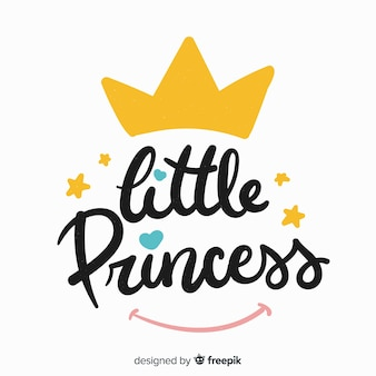 Principessa lettering sfondo con corona