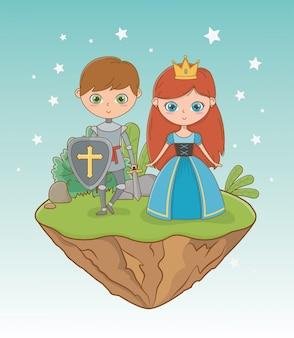 Principessa medievale e cavaliere dal design da fiaba