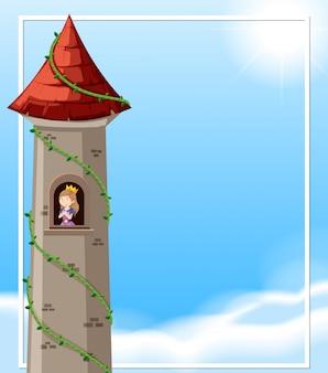 Principessa nella scena della torre