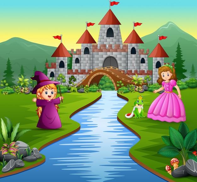 Principessa, piccola strega e un principe ranocchio su uno sfondo di castello