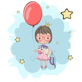 Principessa sveglia del bambino che abbraccia fumetto disegnato a mano dell'unicorno