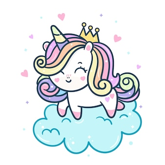 Principessa unicorno carino su nuvola