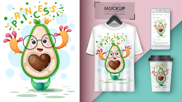 Principi di poster e merchandising di avocado