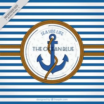 Priorità bassa a strisce con l'ancoraggio e la corda