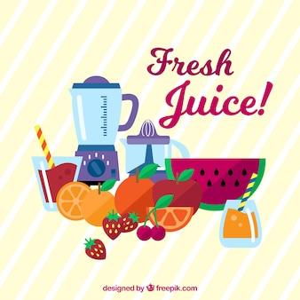 Priorità bassa a strisce con la frutta e frullatore