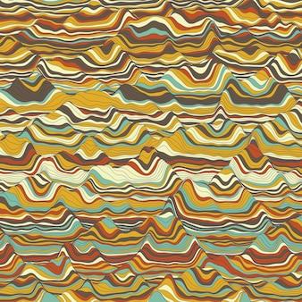 Priorità bassa a strisce di vettore. onde di colore astratte. oscillazione dell'onda sonora. linee arricciate funky. elegante trama ondulata. distorsione superficiale. sfondo colorato.