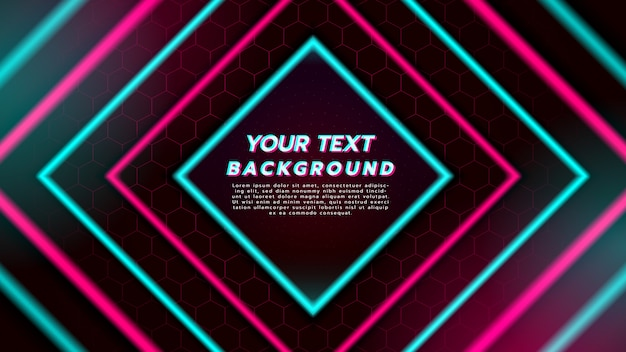 Priorità bassa astratta con luce al neon nel quadrato del diamante. musica dance elettronica e concept futuristico.