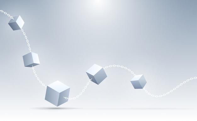 Priorità bassa astratta dei cubi 3d. cubi geometrici di connessione. scienza, blockchain e background tecnologico. sfondo astratto .