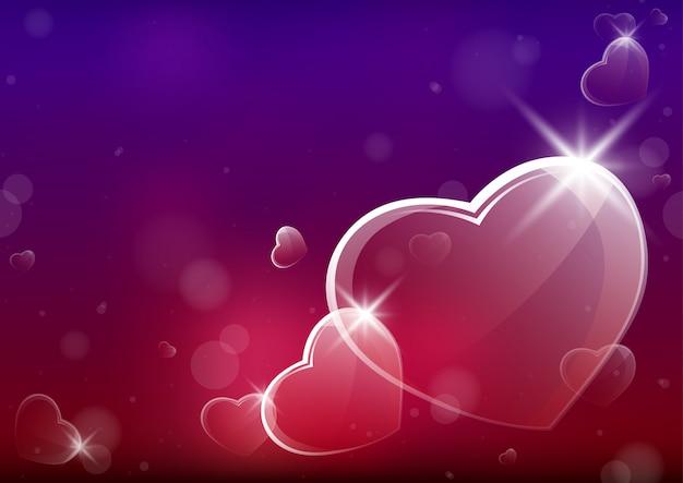 Priorità bassa astratta del biglietto di s. valentino con i cuori vetrosi