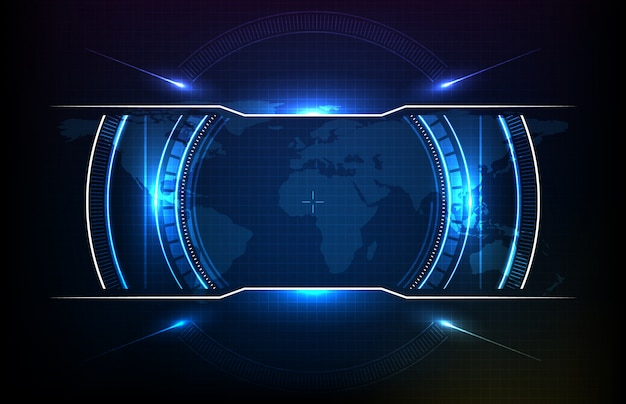Priorità bassa astratta del hud futuristico rotondo dello schermo dell'interfaccia utente di tecnologia
