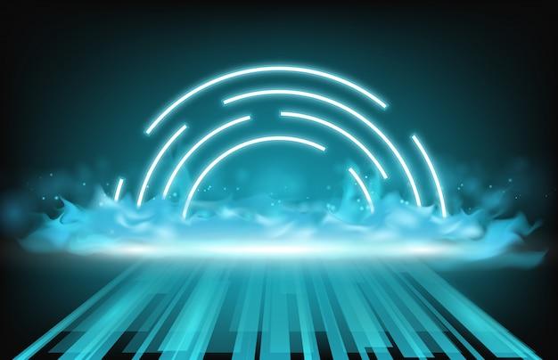 Priorità bassa astratta della luce al neon, del fumo e della via di tecnologia