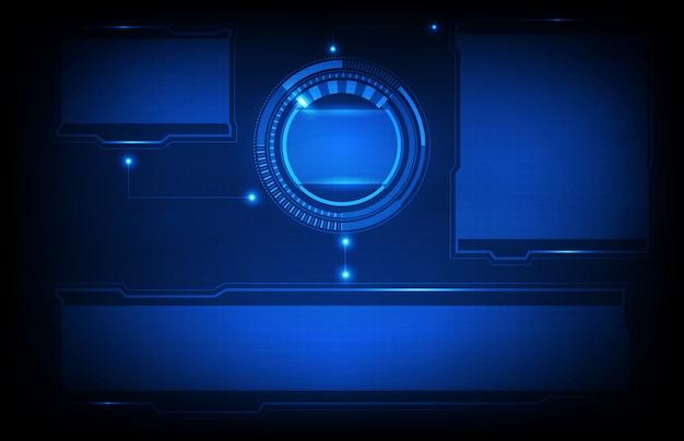Priorità bassa astratta della priorità bassa d'ardore blu dell'interfaccia utente di hud di tecnologia futuristica