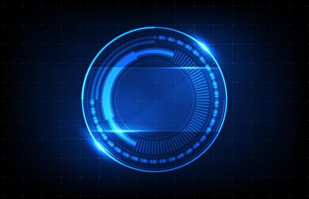 Priorità bassa astratta della priorità bassa d'ardore rotonda rotonda blu dell'interfaccia utente di hud di tecnologia futuristica