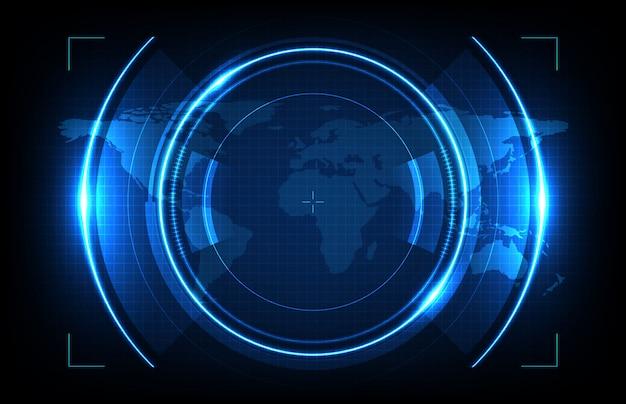 Priorità bassa astratta delle mappe futuristiche rotonde del hud e di mondo dello schermo dell'interfaccia utente di tecnologia