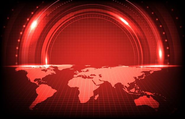 Priorità bassa astratta di esplorazione futuristica dello schermo di tecnologia con le mappe di mondo rosse