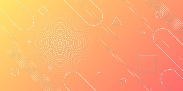 Priorità bassa astratta moderna con gli elementi di memphis nei gradienti gialli ed arancioni e retro a tema