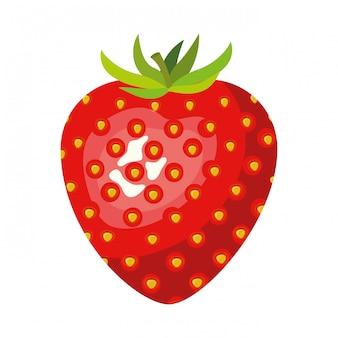 Priorità bassa bianca con l'illustrazione realistica di vettore della frutta della fragola