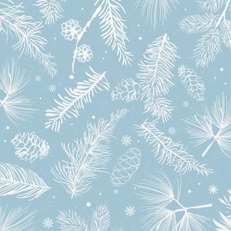 Priorità bassa blu con il vettore della decorazione di inverno