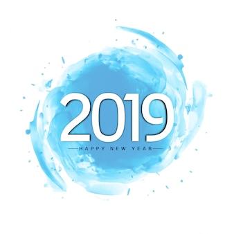 Priorità bassa blu dell'acquerello di nuovo anno alla moda astratto 2019