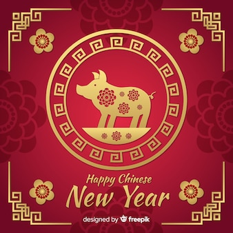 Priorità bassa cinese rossa e dorata del nuovo anno