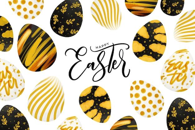 Priorità bassa con le uova di pasqua dorate in acquerello