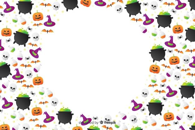 Priorità bassa degli elementi di halloween di gradiente con lo spazio della copia