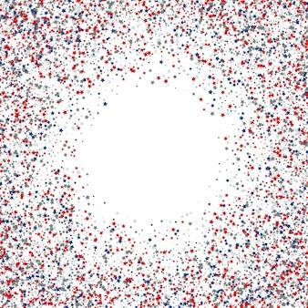 Priorità bassa dei coriandoli della stella di giorno dell'indipendenza del 4 luglio