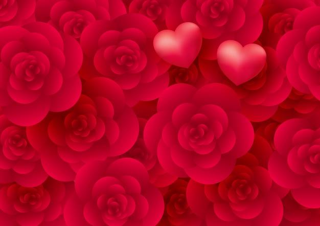 Priorità bassa dei fiori e dei cuori della rosa