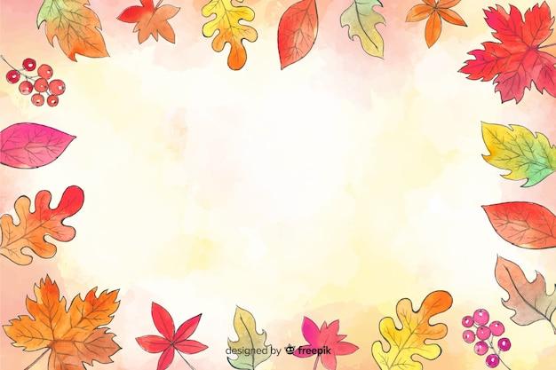 Priorità bassa dei fogli della foresta di autunno dell'acquerello