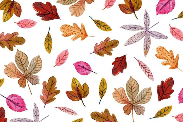 Priorità bassa dei fogli di autunno dell'acquerello