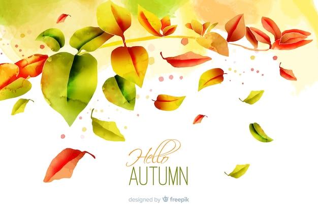Priorità bassa dei fogli di autunno gradiente dell'acquerello