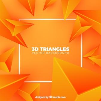Priorità bassa dei triangoli 3d nel colore arancione