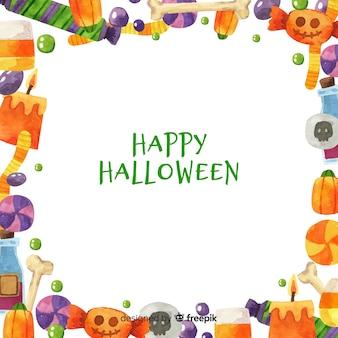 Priorità bassa del blocco per grafici di halloween dell'acquerello