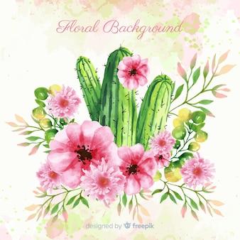 Priorità bassa del cactus di primavera dell'acquerello