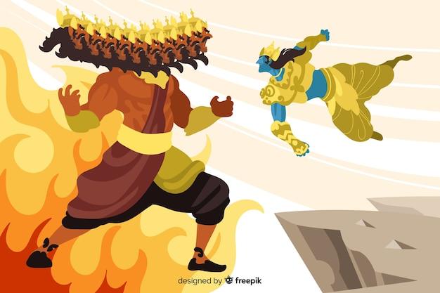 Priorità bassa del carattere di lord rama e ravana