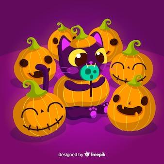 Priorità bassa del gatto di halloween nella progettazione piana