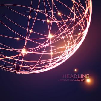 Priorità bassa del globo di griglia al neon. illustrazione vettoriale