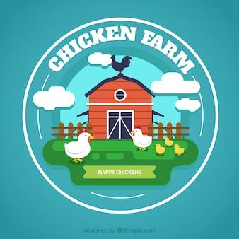 Priorità bassa del granaio con i polli