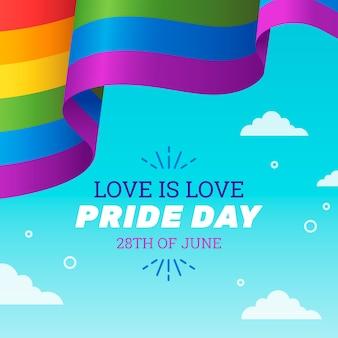 Priorità bassa del nastro della bandiera di giorno di orgoglio in cielo