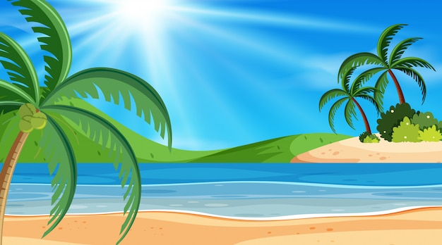 Priorità bassa del paesaggio con l'oceano al giorno