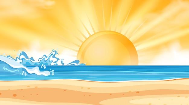 Priorità bassa del paesaggio dell'oceano al tramonto