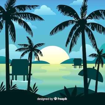 Priorità bassa del paesaggio di tramonto della spiaggia di gradiente